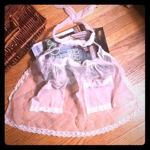 Vintage Sexy White Tulle Lace Cocktail Apron
